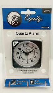 "Equity 20078 2.5"" Battery Operated Quartz  Travel Ascending Alarm Clock- Black"