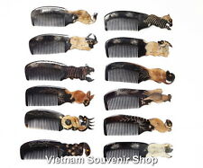 Set of 12 Horn Hair Comb -Hand carved Sculpture Carving 12 Animals - decor