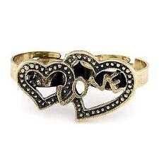 Ajustable vintage retro bronce corazones y amor doble anillo dedo