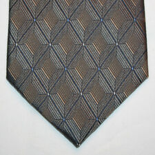 NEW Croft & Barrow Silk Neck Tie Metallic Bronze Plaids w Yellow Blue Dots 1072
