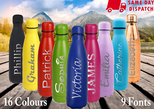 Name Personalised Water Bottle Stainless Steel Vacuum Insulated Chilly Hot 500ml