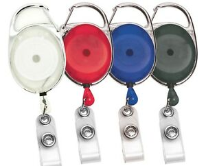 LOT 25 NEW CARABINER RETRACTABLE ID BADGE REEL-2 color