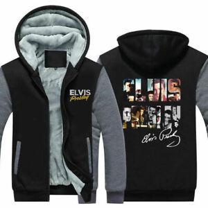 Elvis Presley The King Hoodie Sweatshirt Zipper Sweater Winter Thicken Coat Top