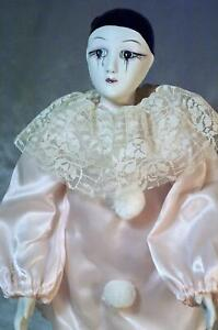 Vintage Porcelain Harlequin Pierrot Doll  Marti Gras Crying Jester w Pink Suit !