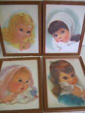 DARLING VINTAGE PRINTS PICTURES BABY GIRLS NORTHERN CHARMIN FRAMED BIG EYES
