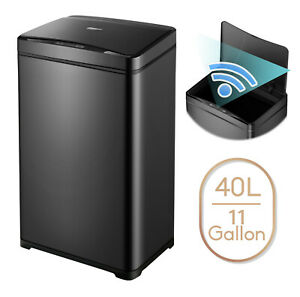 11 Gallon Trash Can Black Steel Touchless Motion Sensor With Soft Close Lid 40L