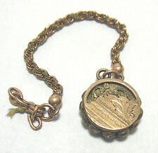 VICTORIAN GOLD FILLED ROUND FOB PENDANT SHORT CHAIN 5.5 GRAMS