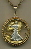 Walking Liberty Half Dollar Cut Coin Necklace Pendant Gold Silver Holiday Gifts