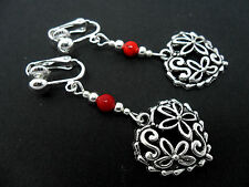A PAIR OF  TIBETAN SILVER DANGLY HEART & RED CORAL BEAD CLIP ON  EARRINGS. NEW.