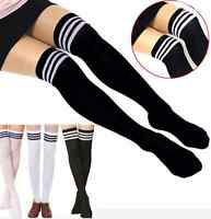 black white Striped Women Girl Sexy Thigh High Cotton Socks Over Knee Stockings