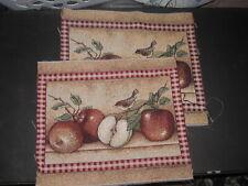 Set of 2 - Apples & Bird Tapestry Pillow Top Fabric Piece