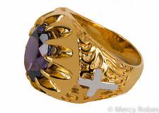 Men's Clergy Bishop Ring, (MGR2022 G-P), Genuine Purple Amethyst