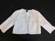 New Women's H&M Open Front Lace Cover-Up Blouse Cream Light Jacket Size Medium