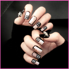 Nail Art Bowknot Rose Press On Manicure Fingernail Tips Accessories False Nails