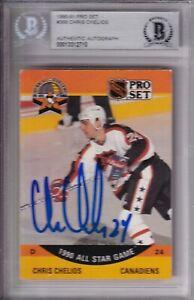 BECKETT 1990-91 PRO SET CHRIS CHELIOS SIGNED ALL-STAR CARD #368 00013312710