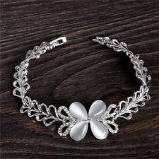 18K White Gold Plated Austrian Crystal Opal Stone 18cm Chain Bracelet Bangle