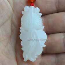 Natural White Afghan Jade Carved Cute Fish Lucky Pendant + Rope Necklace Gift