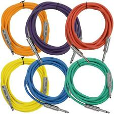 """SEISMIC AUDIO New 6 PACK Colored 1/4"""" TS 10' Patch Cables - Guitar - Instrument"""