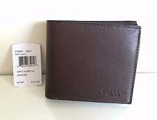 NWT Coach Men's Compact ID Wallet Sport Calf Leathe  F74991 - Mahogany