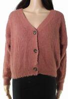Doule Zero Womens Sweater Mauve Pink Size Large L Fuzzy Cardigan $44 843