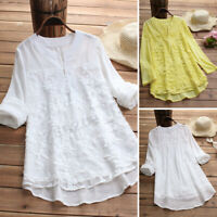 UK 8-24 ZANZEA Women V Neck Lace Crochet Tops Pullover T Shirt Blouse Plus Size