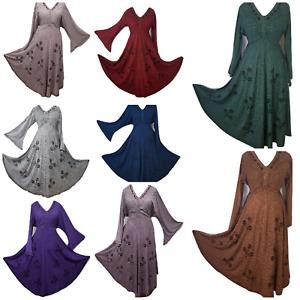 Autumn Winter Dress Medieval Maxi Boho Long Bell Sleeve Plus Size 18 20 22 24