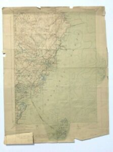 Antique 1925 Geological Survey Topographic Map ME NH Kittery York Rye New Castle