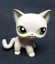 RARE Littlest Pet Shop LPS White Purple Cat Kitty #2094 Short Hair Green Eyes