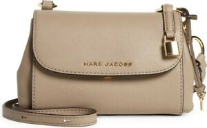 New The Marc Jacobs Mini Hobo Grind Leather Shoulder Bag Stone Cold Fox $350