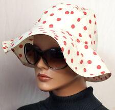 Hut Sommer Krempe True Vintage Mode Elegant 60er 70er Weiß Rot Punkte Rockabilly
