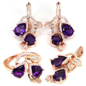 NATURAL AAA PURPLE AMETHYST PEAR & WHITE CZ STERLING 925 SILVER SET SIZE 5.75
