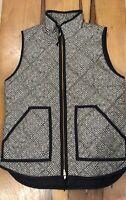 j crew womens black beige herringbone quilted full zip vest puffer jacket xs