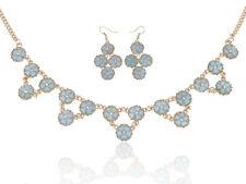 Golden Tone Light Blue Dainty Daisy Flowers Fashion Collar Necklace Clr Earring