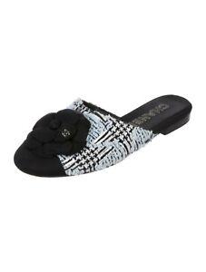 CHANEL CC Logo Camellia Tweed Black Navy Flat Shoes 41.5