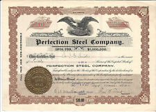 1911 Delaware Perfection Steel Company Stock Certificate
