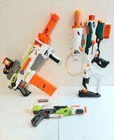 Nerf Gun Blaster Lot Of 3 Modulus Tri Strike with Rocket Modulus Automatic Scope