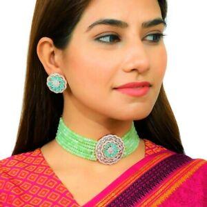 Bollywood Style CZ AD Wedding Green Choker Indian Bridal Wedding Necklace Sets