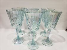 Shabby Chic Coastal Aqua Iridescent Plastic Melamine Wine Glasses Set of 6