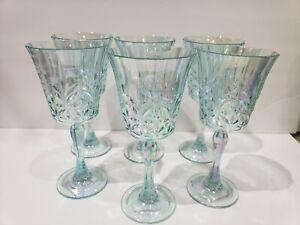 Shabby Chic Coastal Aqua Iridescent Plastic Melamine Wine Glasses Set of 6