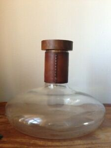 Carl Aubock Glass Vase Wine Decanter with Leather and Wooden Top.