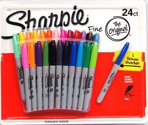 SHARPIE 24 Set Coloured Fine Point Permanent Marker NEW + bonus marker