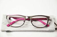 Damen Lesebrille aus Metall mit Entspiegelung und Federscharnier grau pink Neu