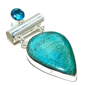 "Arizona Turquoise, Blue Topaz Gemstone Ethnic Silver Jewelry Pendant 2.2"" PR3055"