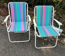 2er Set  x 80er Jahre Klappstühle - Camping Stühle mit Metallgestell Vintage