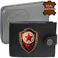Klassek Soviet Badge Mens Leather Wallet USSR Cold War Russia Russian Emblem