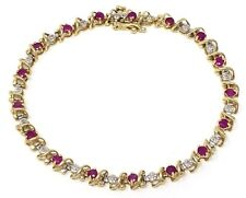 "10k Yellow Gold Ruby & Diamonds Bracelet 7.25"" 4.7mm 6.7 grams"