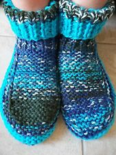 Hand knitted cozy and warm slippers/socks/booties, blue tones with aqua