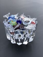 Orrefors Crystal Candy Dish With Attributed Murano Glass Wrapped Candies. Signed