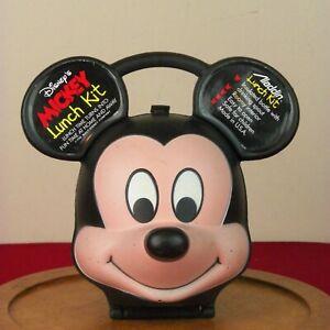 Disney Mickey Mouse Head Lunch Box Kit Aladdin Rare Minnie Thermos Vintage