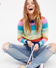 Free People Cashmere Crew Neck Sweater Stripe Rainbow Multicolor Rare S